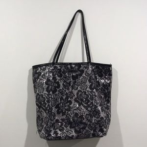 Betsy Johnson Sequin Floral Tote Bag